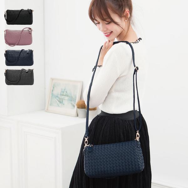 側背包 編織包 雙夾層兩用斜背包(附長帶) 女包 89.Alley-HB89194
