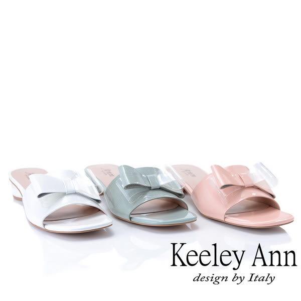 ★2019春夏★時尚膠片 蝴蝶結膠片造型圓跟拖鞋(藍色) -Ann系列