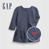 Gap嬰兒 舒適愛心印花長袖洋裝(含尿布套) 650120-深藍色