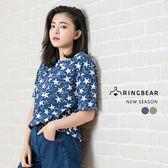 星星--碎星夏日祭典風彈性棉質短袖圓領棉T上衣(藍.綠XL-3L)-T257眼圈熊中大尺碼