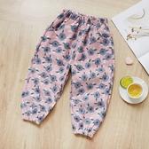 可愛圖案鬆緊長褲 粉色大花 童裝 褲子