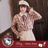 上衣 Hello Kitty x Ruby 聯名款.荷葉格紋綁帶長袖上衣-Ruby s 露比午茶