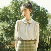 依Baby 秋新款韓版復古娃娃領襯衫襯衣上衣