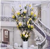 落地插花乾花牡丹花仿真干支居家室內裝飾*黃色牡丹【含花瓶】