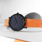TIMEX 天美時 / TXTW2U05800 / 復刻系列 簡約風格 冷光照明 礦石強化玻璃 真皮手錶 藏青x黑框x橘 42mm