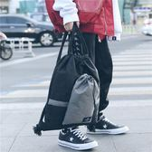 英倫風時尚潮流水桶包男女款大學生書包抽繩個性後背包束口袋背包