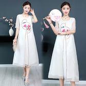 【韓國KW】(預購) M~3XL蕙質靜影沉璧短袖印花洋裝