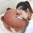 現貨快出 可愛布朗熊暖手抱枕午睡靠墊冬季...