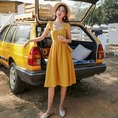 露背洋裝 海南三亞巴厘島沙灘裙黃色超仙吊帶心機性感漏背洋裝女海邊度假 polygirl