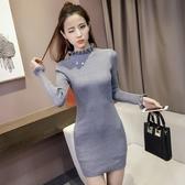 EASON SHOP(GU9312)韓版純色坑條紋木耳花邊高領毛衣針織長袖洋裝連身裙女上衣服短裙包臀裙長窄裙