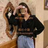 雪紡衫女 法式長袖上衣秋季設計感小眾娃娃領襯衫【橘社小鎮】