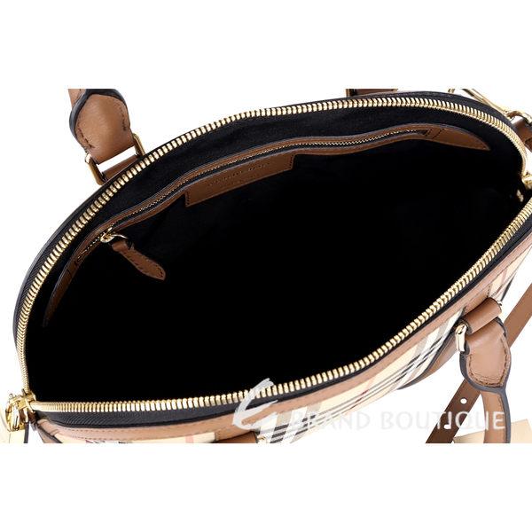 BURBERRY THE ORCHARD HORSEFERRY 格紋拼接兩用手提包(棕色) 1520741-B3