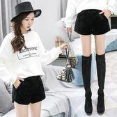短褲女外穿韓版寬鬆顯瘦黑色毛呢金絲絨高腰闊腿靴褲 露露日記