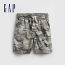 Gap男童 時尚鬆緊休閒短褲 682114-灰色迷彩