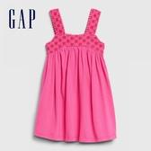 Gap女幼童 甜美風格鏤空刺繡吊帶洋裝 576311-櫻紅色