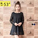 洋裝--輕甜優雅圓領蕾絲緹花袖顯瘦透膚A字傘襬洋裝(黑.藍XL-5L)-A257眼圈熊中大尺碼