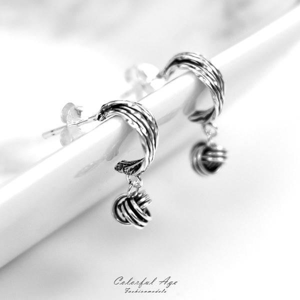 銀飾 純銀垂墜3線紐球耳針耳環NPD213