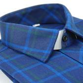 【金‧安德森】藍底藍綠大格厚暖長袖襯衫