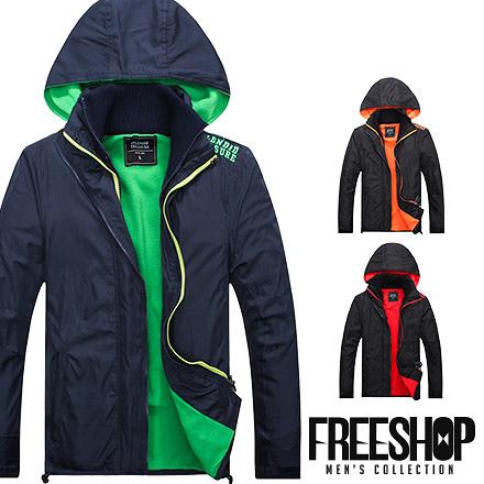 機能外套 Free Shop【QM88869】日韓系TREASURE內裡螢光拼色高機能連帽防風外套防寒外套 三色