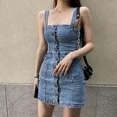 洋裝 辣妹春夏chic背帶復古吊帶洋裝 單排扣牛仔收腰顯瘦性感包臀連身裙女潮