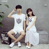 蜜月情侶裝夏裝新款韓版海邊度假原宿風連身裙女學生寬鬆T恤 至簡元素