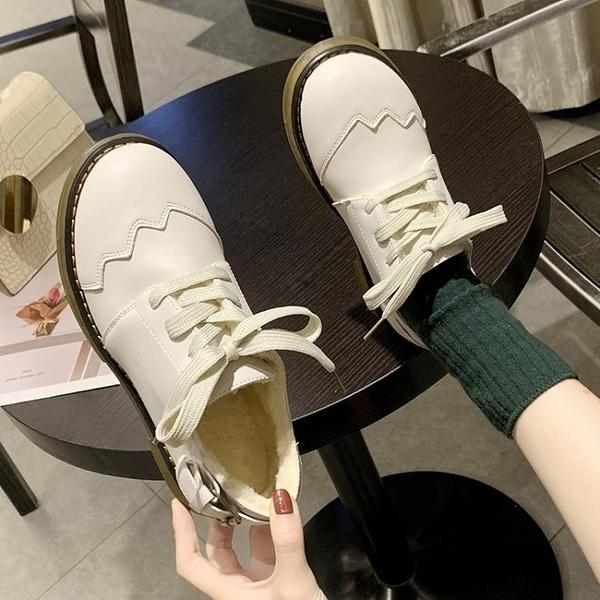 英倫風牛津鞋 加絨小皮鞋女2021秋冬季新款學院配裙子平底學生單鞋休閒鞋 8號店