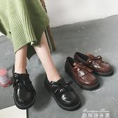新款復古小皮鞋英倫風流蘇學生大頭娃娃鞋厚底鬆糕休閒單鞋潮    麥琪精品屋