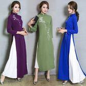 新品復古中國風奧黛氣質改良旗袍長款連身裙茶服   遇見生活
