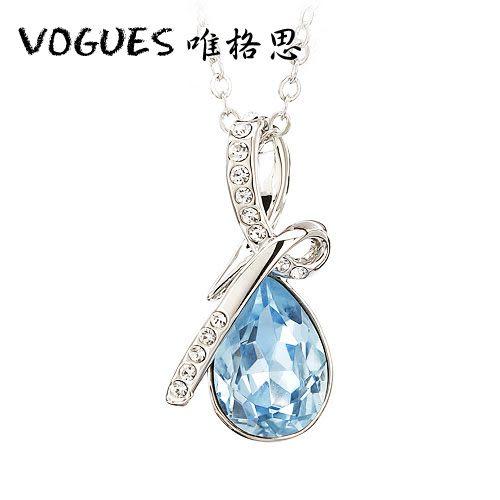 天使淚鑲鑽鋯石項鍊 (2色) 情人節禮物【Vogues唯格思】A015
