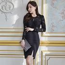 蕾絲洋裝 韓版連身裙女秋冬時尚性感鏤空長袖修身開叉打底裙子