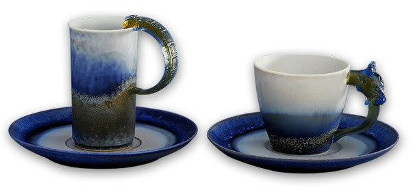 鹿港窯~ 琉璃耳 陶藝咖啡杯【山水對杯】(二杯二盤) 附精美包裝◆免運費送到家