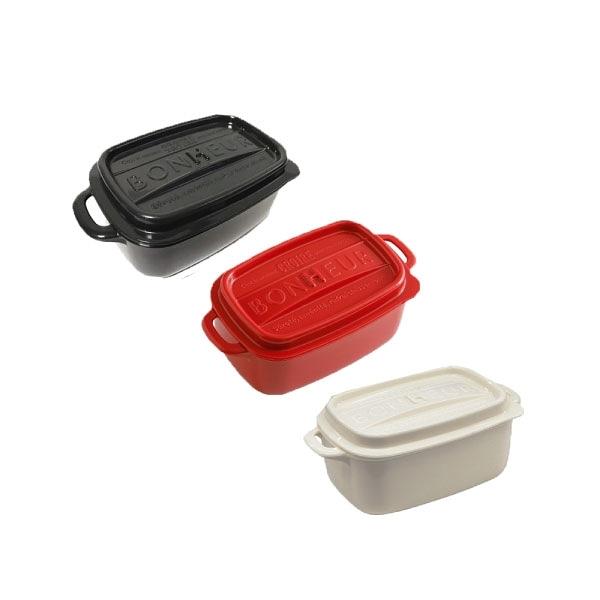 【日本YAMADA】可微波加熱鑄鐵鍋造型密封保鮮盒- 長方形 (三色可挑選)
