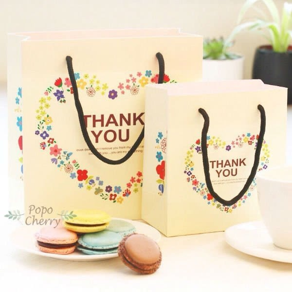 愛心感謝袋(中) 紙袋 禮盒袋 乳酪盒袋 購物袋 手提袋 蛋糕袋 包裝袋 時尚袋 環保袋