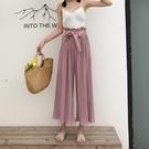寬褲 夏季女裝韓國壓褶繫帶花邊寬鬆顯瘦九...