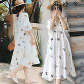 孕婦洋裝中長款短袖棉麻孕婦洋裝連身裙