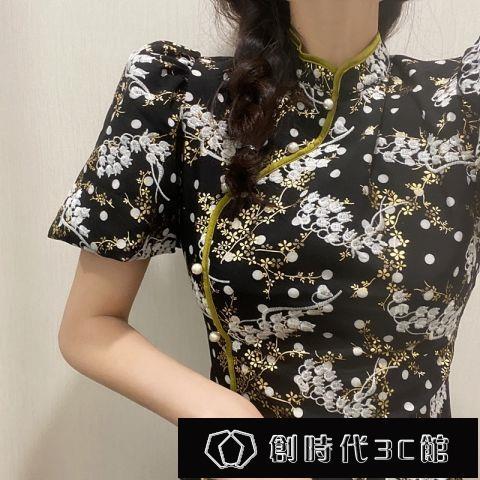 旗袍改良版連衣裙子2021年新款女夏泡泡袖a字收腰顯瘦中國風【全館免運】