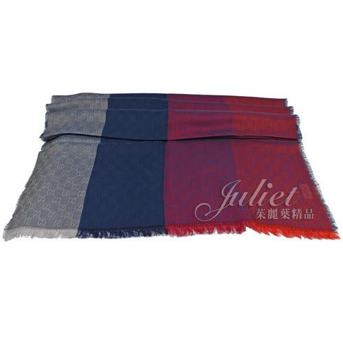 茱麗葉精品 全新精品 GUCCI 421078 經典雙G緹花羊毛絲綢長圍巾.灰藍紅