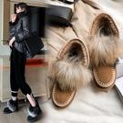 手工真皮大尺碼女鞋34-43 2020網紅爆款優雅百搭絨面牛翻皮毛草圓頭低跟雪靴 短靴子~2色