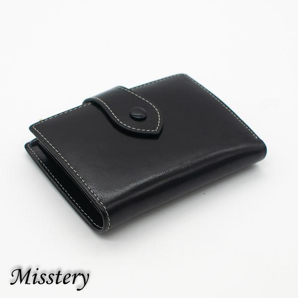 短夾進口油臘皮女用多卡短夾-黑(Misstery)A99-009BK