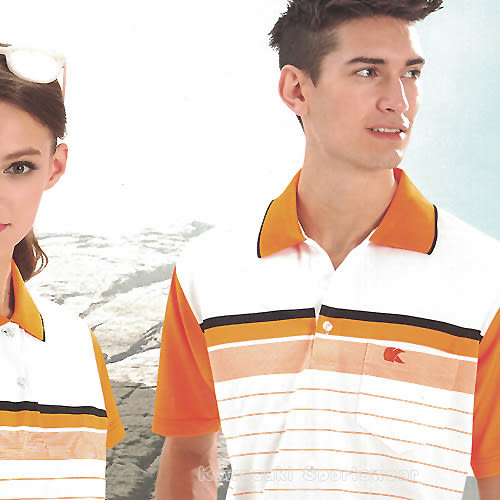 【日本 Kawasaki】男女運動休閒吸濕排汗短POLO衫(白橘條紋)#K2235A1