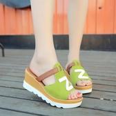 2019夏季新款厚底高跟厚底契型韓版女拖鞋外穿一字拖沙灘鞋女鞋女涼拖『艾麗花園』
