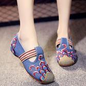新款老北京花布鞋女復古內增高繡花鞋民族風女鞋鬆緊帶舞蹈鞋