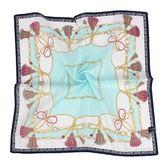 MARIO VALENTINO 結繩鎖鏈純綿帕領巾(粉藍色)989259-1