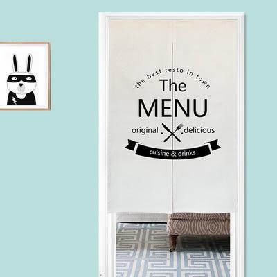 可愛時尚棉麻門簾E129 廚房半簾 咖啡簾 窗幔簾 穿杆簾 風水簾 (80cm寬*90cm高)