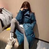 羽絨夾克-白鴨絨-純色寬鬆過膝長款女外套3色73zc19【時尚巴黎】
