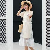 吊帶裙-網紗韓版時尚透視罩衫女背帶裙2色73rx36[巴黎精品]