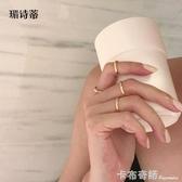 洗手不用摘4件套女鈦鋼鍍18K金色關節細戒指素圈疊帶食指小指尾戒 卡布奇諾