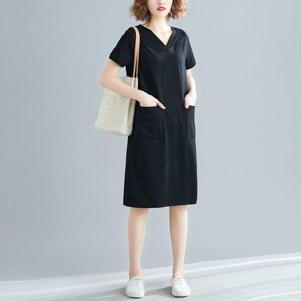 漂亮小媽咪 文藝 修身【D2799】 韓系 V領 舒棉 純色 孕婦洋裝 短袖 百搭 洋裝 孕婦裝