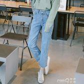 韓版高腰褲子女bf寬鬆直筒闊腿百搭學生學院風chic九分牛仔褲 【PINK Q】