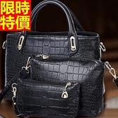 手提包-皮革氣質韓版新款時尚鱷魚紋潮流子母女肩背包5色66d4【巴黎精品】